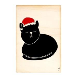 Houten kaart; Poes met kerstmuts