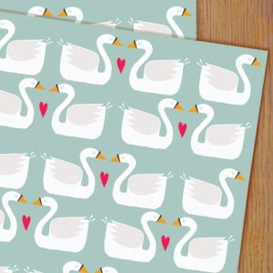 WP67 swans wrapping paper