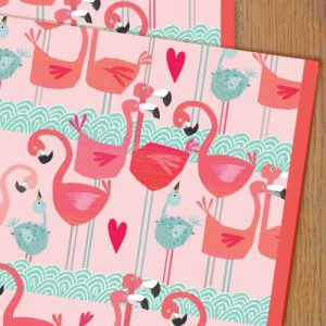 WP68 flamingo wrapping paper