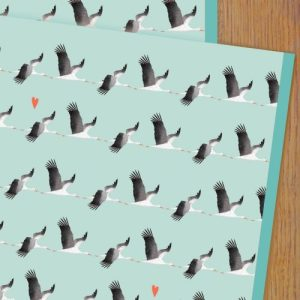 WP92 blue stork wrapping paper