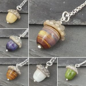 Acorn Necklaces, 16″ or 18″ Sterling Silver Chain – Flora Collection
