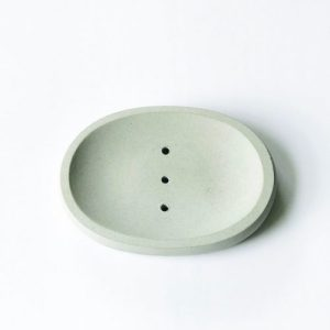 Concrete oval soap dish (grey)