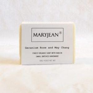 Organic Scottish Geranium May Chang Gentlemen's Shaving Soap Handmade With Kaolin