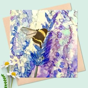 Bee On Lavender square cards