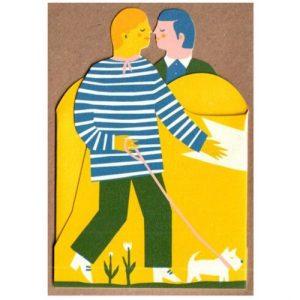 Two Men Concertina Heart Card