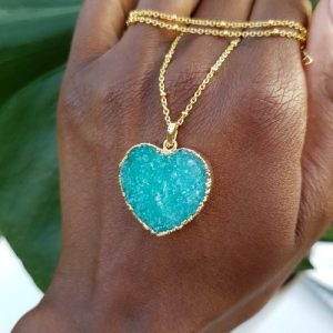 Colourful druzy heart pendant necklaces with beaded gold chain - Assorted Colours (Limited Edition) - 20200920 180153 500x500