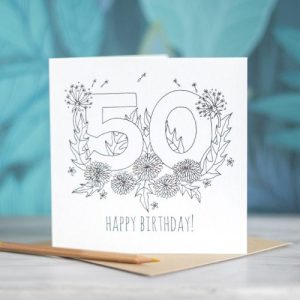 Colour-In Number/Age Birthday Card – 50
