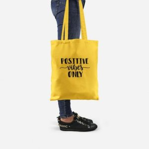 Positive Vibes Only Yellow Tote Bag