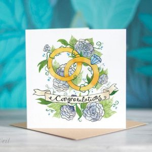 Congratulations Greeting Card – Floral Wedding/Engagement Rings