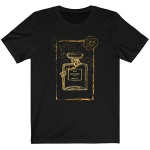 """Black Graphic """"Couture"""" Perfume Bottle Women's Tee"""