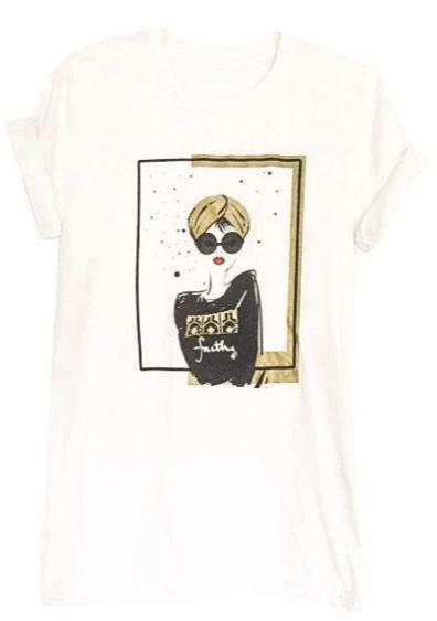 "White Graphic ""Turban Girl"" Women's Tee - 6 10"