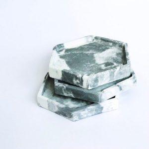 25-piece Concrete hexagonal tray/organiser bundle