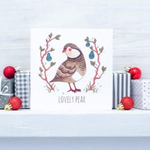 Partridge Christmas Card - 'Lovely Pear' - 8 4 500x500