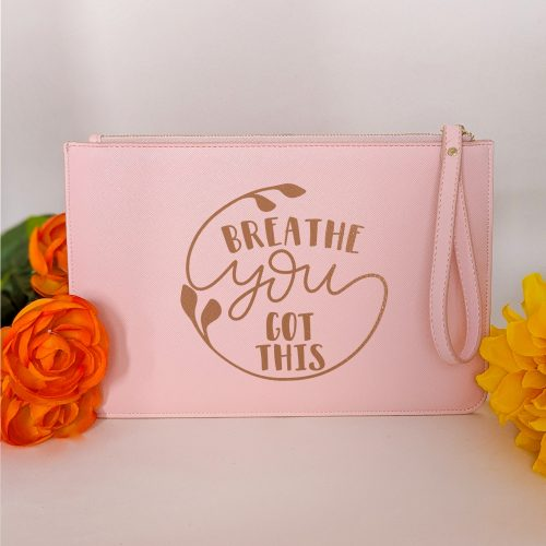 HappyToteQuotes - Breathe You Got This Faux Leather Clutch