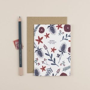 Christmas Thistles & Florals Greeting Card - ChloeHall HB 13 500x500
