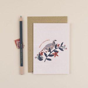 Partridge Merry Christmas Greeting Card - ChloeHall HB 16 500x500