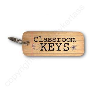 Classroom Keys Rustic Wooden Keyring – RWKR1 – Pack of 6