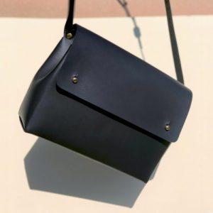 Leather Shoulder Bag - SCYLLA Matte Black - Handmade leather bag  500x500
