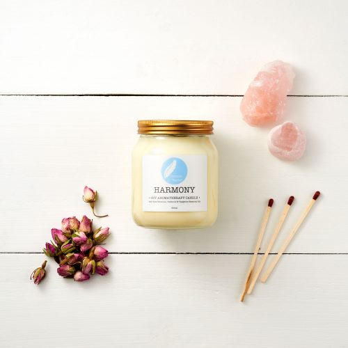 Harmony Soy Aromatherapy Candle with Rose Geranium, Patchouli & Tangerine essential oils. 100% natural, vegan, cruelty free, plant based, zero waste, plastic free, eco friendly gift