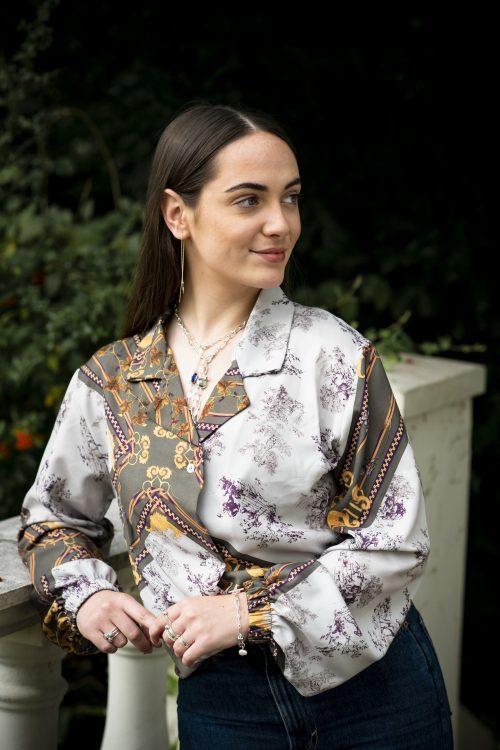 Hermione Shirt: Autumn French Silk - House of Zana Southlands shoot 232 500x750
