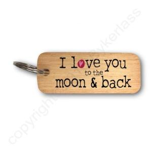 I Love You To The Moon & Back Rustic Wooden Keyring – RWKR1 – Pack of 6