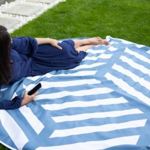 PICNIC BLANKET – EXTRA LARGE ROUND TOWEL – BATTERSEA BLUE – 185 CM – 73″ DIAMETER