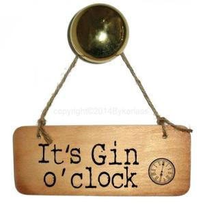 It's Gin O'clock Rustic Wooden Sign – RWS1 – Pack of 6
