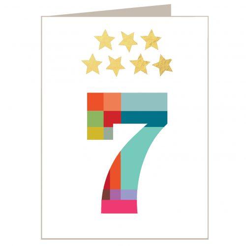 KTW07 mini gold star number seven card
