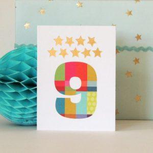 KTW09 mini gold star number nine card