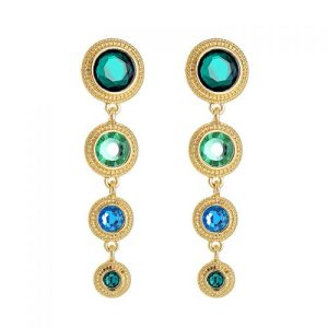 Greens & Turquoise Disc Earrings in Gold - LE070G 500x500