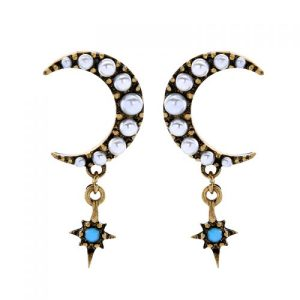 Pearl Moon & Turquoise Star Earrings in Antique Gold - LE071A 500x500