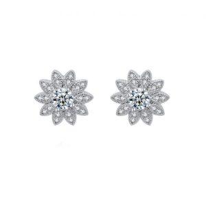 Cubic Zirconia Sunflower Earrings in Silver - LEM04S 500x500