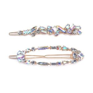 Twin Pack Gem Hair Pin in Gold & Clear - LHY37G 500x500