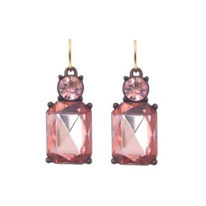 Faceted Gem Earrings with Crystal Earrings in Rose Pink with Antique Gold - LTE08R 500x500