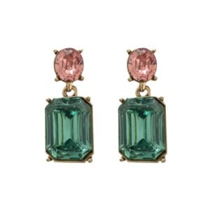 Simple Deep Green Gem with Peach Crystal Earrings in Antique Gold - LTE09G 500x500