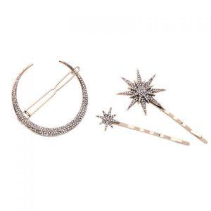 Moon & Stars Triple Hair Clip Set - LTH95G 500x500