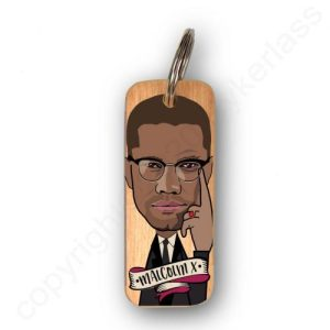 Malcolm X Character Wooden Keyring – RWKR1 – Pack of 6