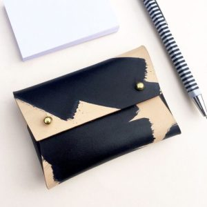 "Mini Leather Pouch / card holder – MILA ""Ink Brushed"""