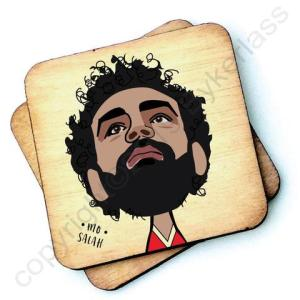 Mo Salah Character Wooden Coaster - RWC1 - Pack of 6 - Mo Salah Coaster