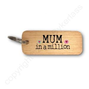 Mum In A Million Rustic Wooden Keyring – RWKR1 – Pack of 6