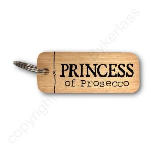 Princess of Prosecco Rustic Wooden Keyring – RWKR1 – Pack of 6