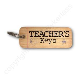 Teacher's Keys Rustic Wooden Keyring – RWKR1 – Pack of 6