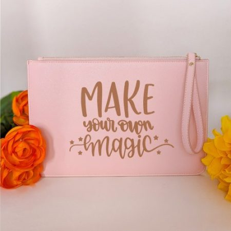 HappyToteQuotes - Make Your Own Magic Faux Leather Clutch Bag