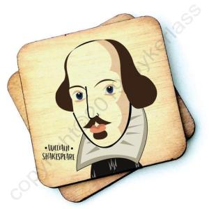 William Shakespeare Character Wooden Coaster - RWC1 - Pack of 6 - William Shakespeare Coaster