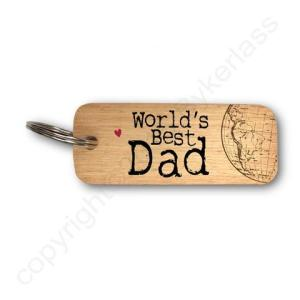 World's Best Dad Rustic Wooden Keyring – RWKR1 – Pack of 6
