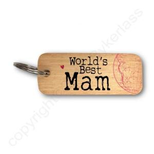 World's Best Mam Rustic Wooden Keyring – RWKR1 – Pack of 6