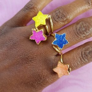 Colourful star druzy stone rings - Assorted Colours (Limited Edition) - YAA YAA LONDON STARS 2 500x500