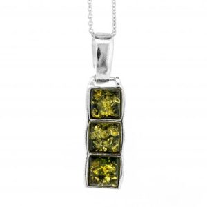 Three Stone Pendant in Green Amber And Sterling Silver with 18″ Trace Chain