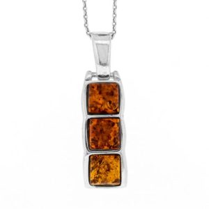 Three Stone Pendant in Cognac Amber And Sterling Silver with 18″ Trace Chain