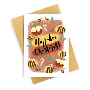 Happ-Bee Christmas Recycled Greetings Card